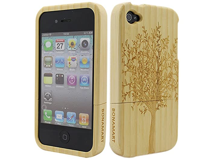 19b34ef6d Amazon.com: Luxury Unique Natural Wooden Bamboo Wood Hand Made Hard ...