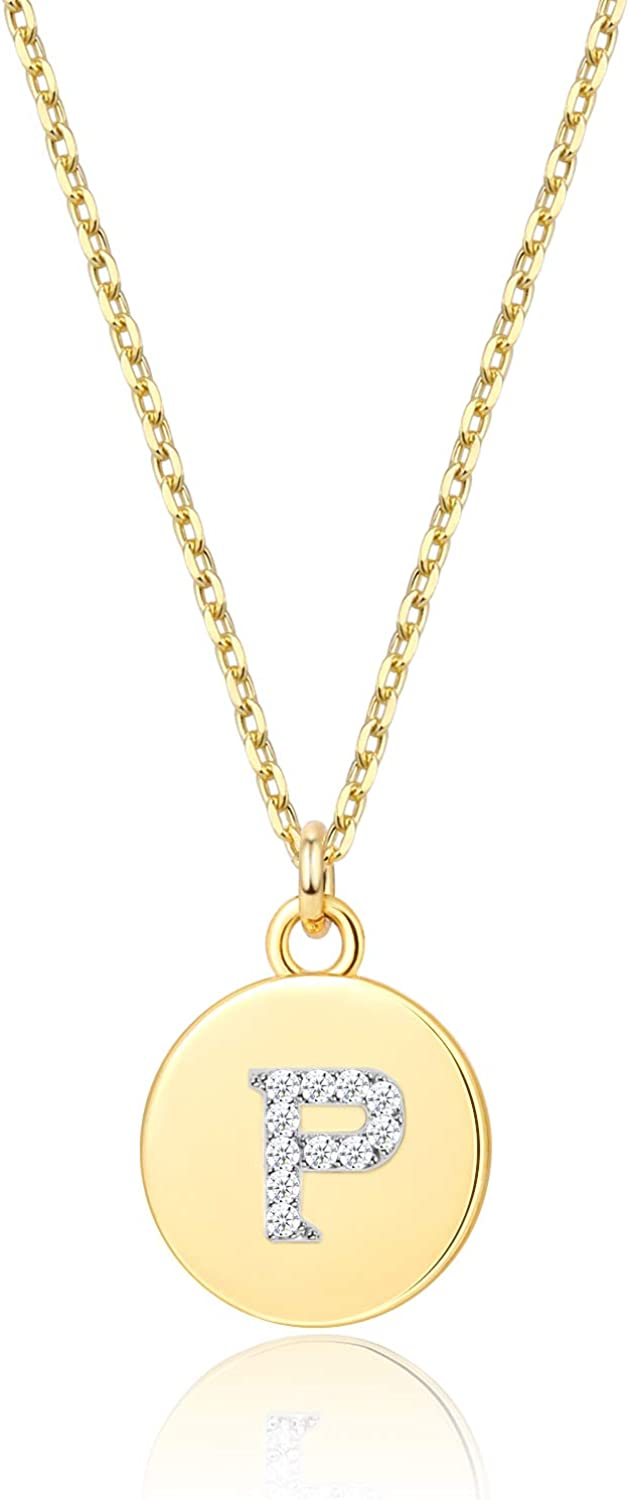 Tiny Initial Necklaces - 14K Gold Plated Dainty Cute Round Letter Necklace for Women Girls