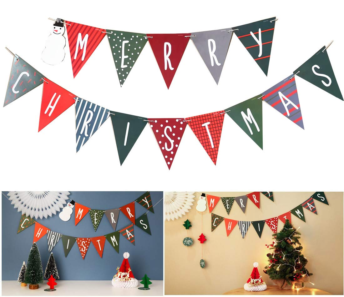 Amazon.com: Merry Christmas Banner - Christmas Decoration Bunting ...