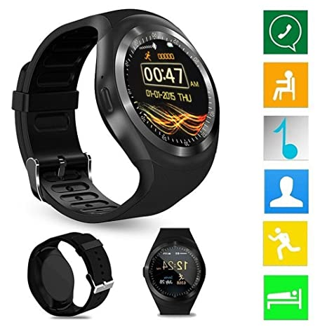 Smart Watch Phone Y1 Bluetooth 3.0 Smart Watch HD IPS Pantalla táctil redonda Reloj con teléfono celular ...