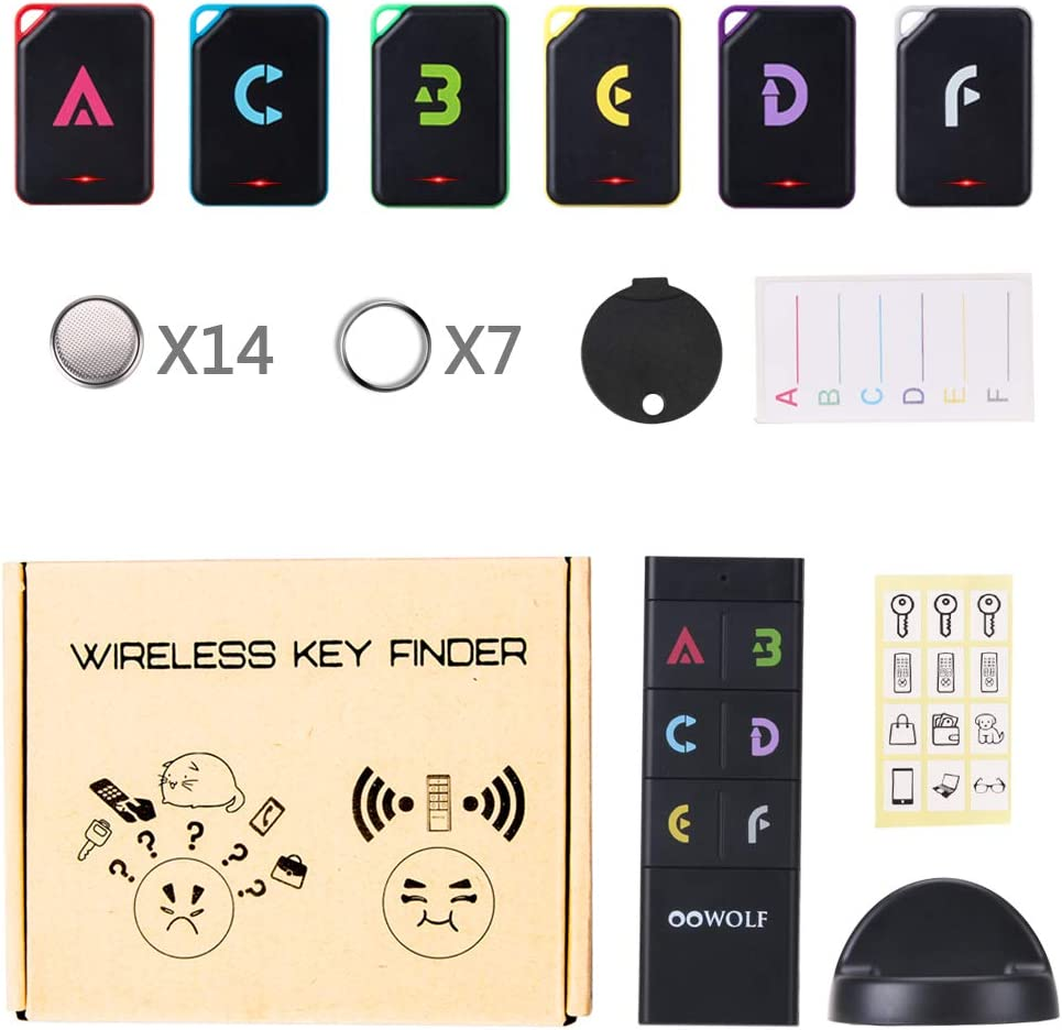 Item//Pet//Wallet Tracker with 6 Receivers OOWOLF Key Finder with 14 upgraded long-lasting spare batteries RF Item Locator Support Remote Control Great idea to find things