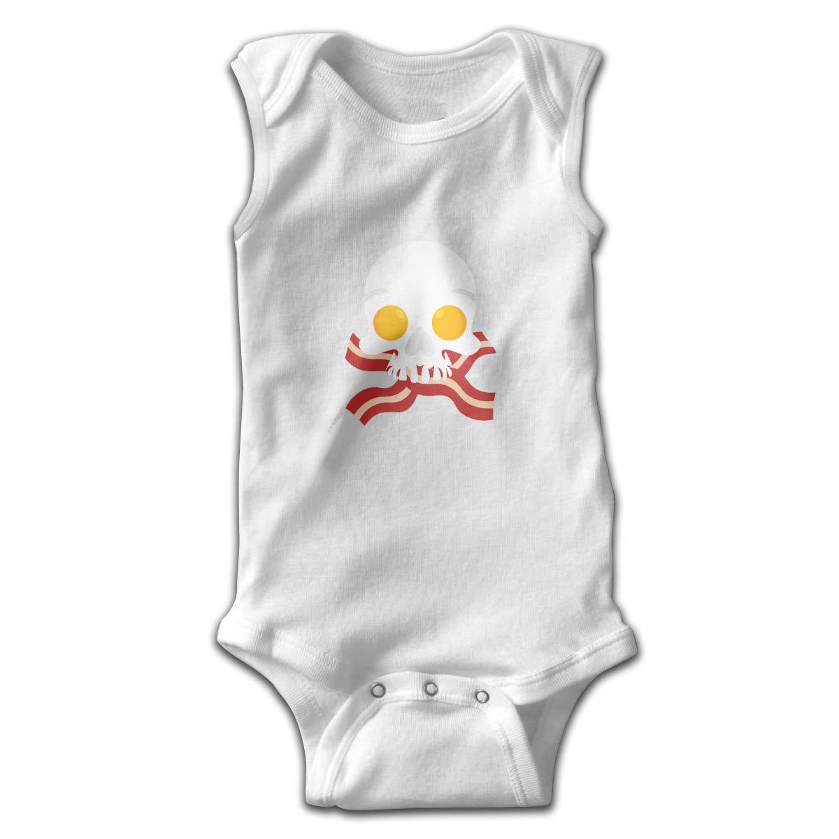 Dunpaiaa Eggs Bacon Skull Logo Smalls Baby Onesie,Infant Bodysuit Black