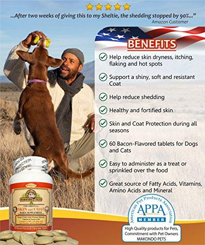 Skin-and-Coat-Supplement-for-Dogs-and-Cats-Fish-Oil-for-Dogs-Fatty-Acids-Vitamins-Amino-Acids-Minerals-Omega-3-for-dogs-Relieve-Dog-Dry-Skin-Itchy-Dog-Hot-Spots-Shedding-60-Nutritional-Tabs
