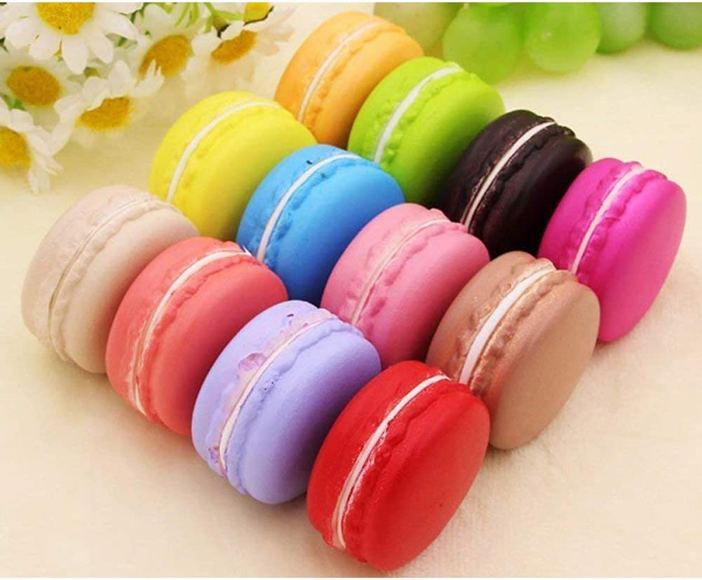 Mokylor 12 Pcs Artificial Simulation Macaron Cake, Realistic Artificial French Dessert Food Props Pretend Toy for Home Kitchen Shop Display Decoration