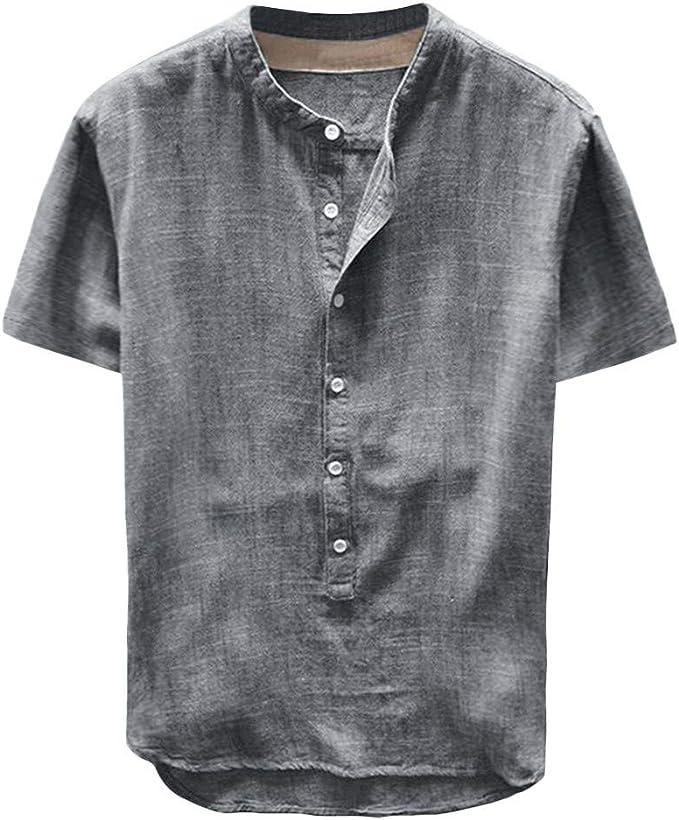 T-Shirt A Manica Corta Uomo alla Moda Camicia Elegante Slim Fit in Cotone T-Shirt Manica Corta Scont Estate