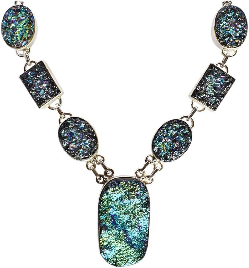 Collar de plata de ley 925 maciza, de titanio con piedra drusa de aspecto bonito, para niñas FSJ-2534