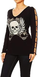 product image for Funfash Women Plus Size Black Long Sleeve V Neck Gothic Skull Blouse Top Shirt