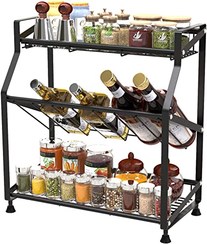 Spice Rack, Ace Teah 3 Tier Spice Rack Holder Kitchen Countertop Shelf Organizer, Black