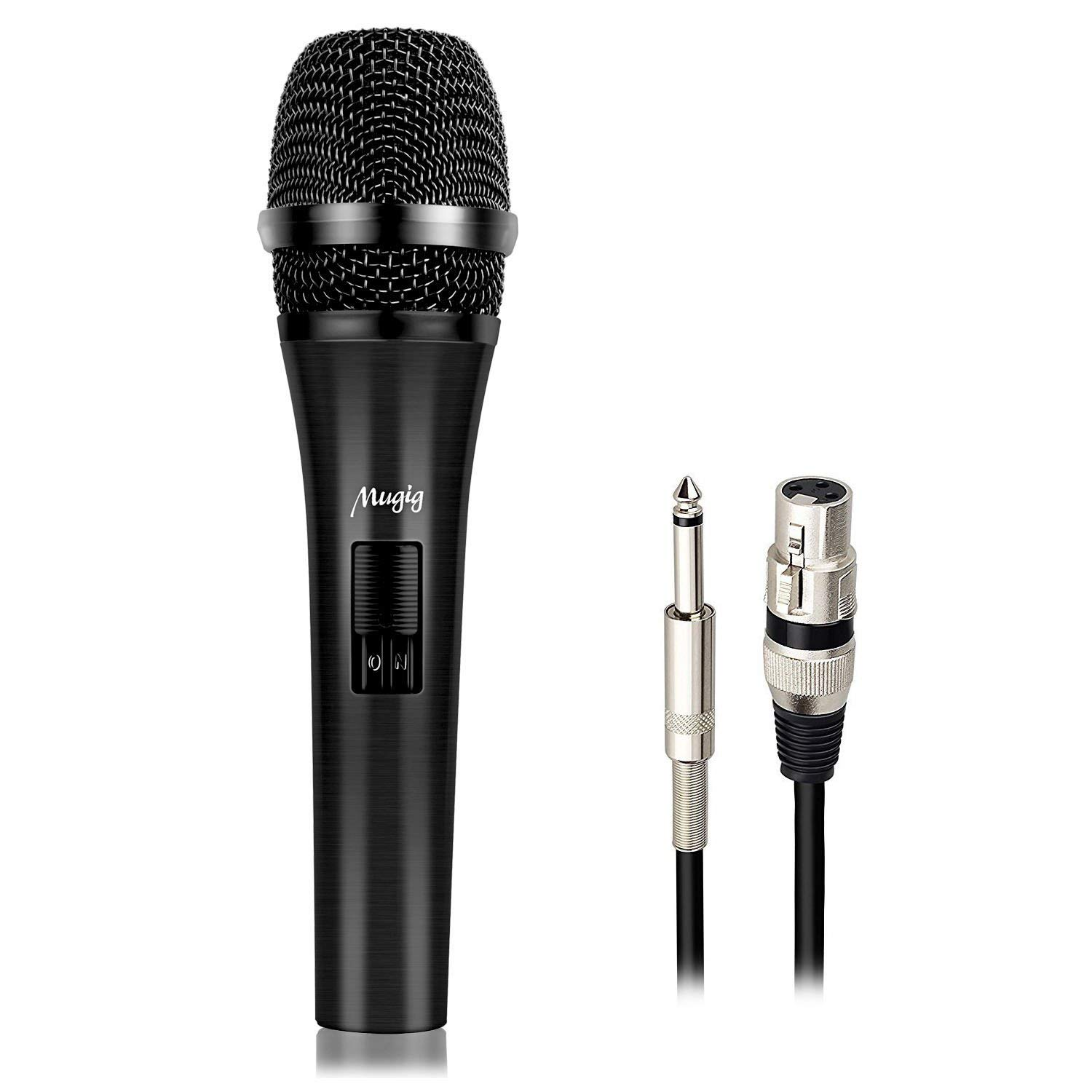 Mugig Dynamic Microphone, Cardioid, Uni-Directional, Vocal Microphone for Karaoke, Performance, Public Speaking, Stage, Recording, Include 16ft XLR to QTR Cable by Mugig