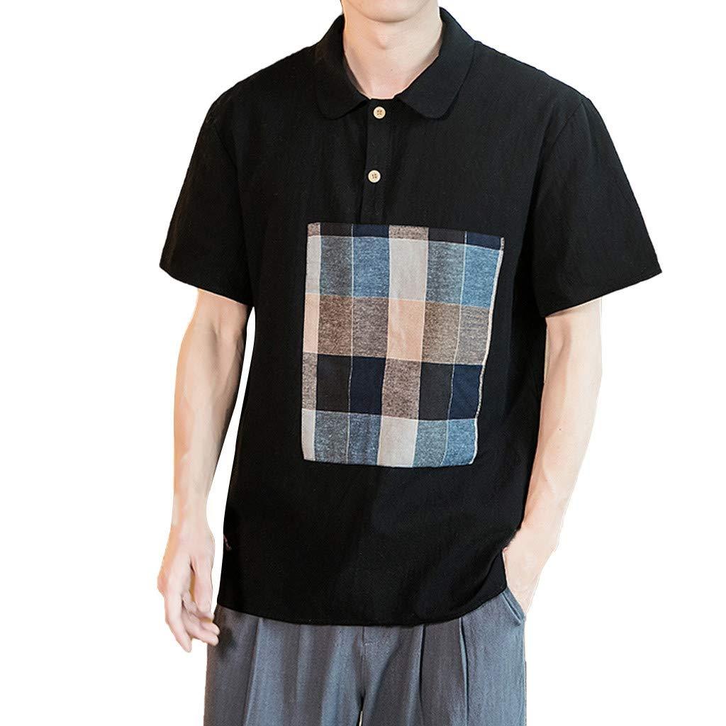 Men's Summer Casual Cotton Linen Patchwork Short Sleeve T Shirts Top Blouse Black
