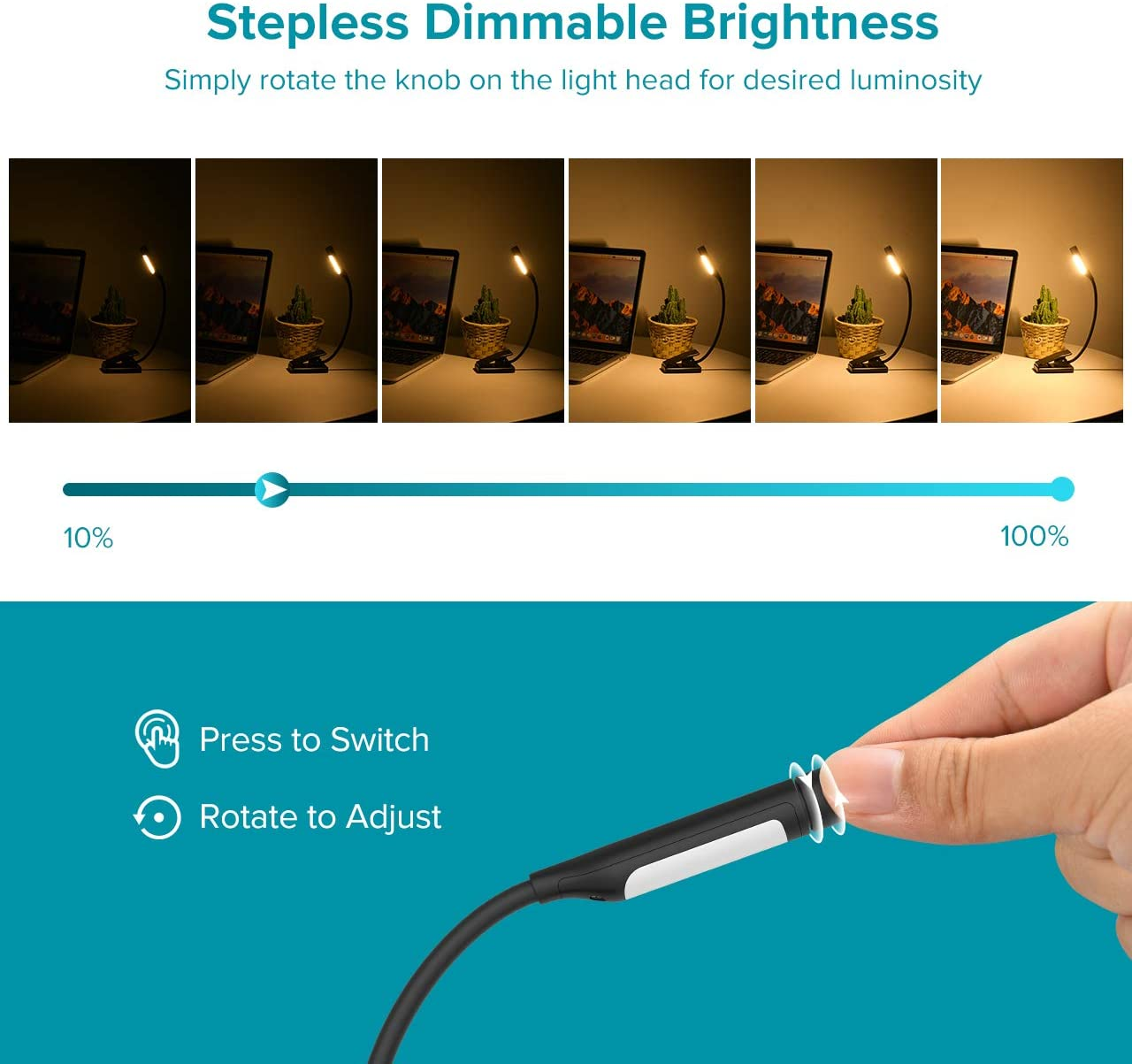 Easy Clip On Reading Lamp for Night Reading in Bed Rechargeable Book Light with Stepless Dimming Knob Control Adjustable Color Temperature TOPELEK 7 LED Reading Light
