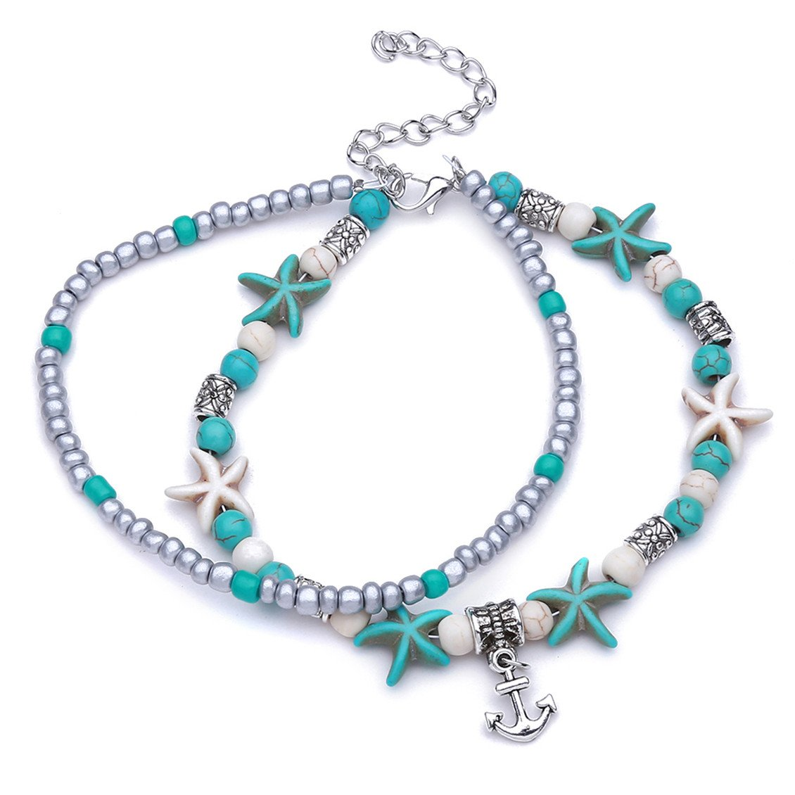 Dolland Blue Turquoise Starfish Anklets Star Sea Beads Anklets Multi Layer Ankle Foot Bracelet Jewelry Bohemian Handmade Sandals Anklet for Women,Starfish Anchor Multi-Layer,As Description