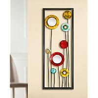 Associazione in rilievo da parete fiori multicolor con due piccoli completano specchi 69921 30 x 81 cm