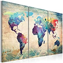 ECHI 3 Panel Wall Decor Oil Painting Modern World Map Canvas Prints Vintage Map Art,for Home, Living Room, Bedroom, Office, Restaurant, as Modern Gallery Artwork - 3 Colours (Frameless) (Blue)