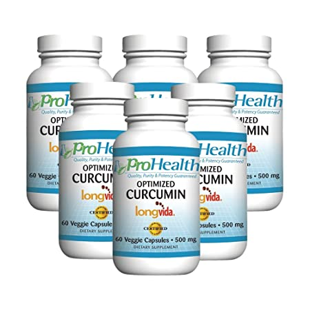 ProHealth Optimized Curcumin Longvida 6-Pack 500 mg, 60 capsules each 285x More Bioavailable Joint Health Cognition Anti-Inflammatory Antioxidant Supplement