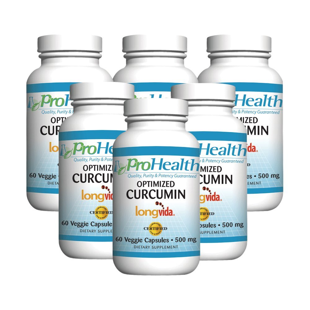 ProHealth Optimized Curcumin Longvida 6-Pack (500 mg, 60 capsules each) 285x More Bioavailable | Joint Health | Cognition | Anti-Inflammatory | Antioxidant Supplement