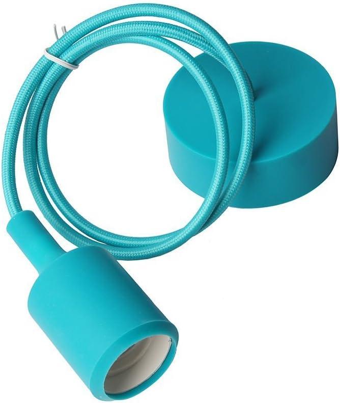 1m, Cyan Lightingsky Colorful E26 Silicone Ceiling Lamp Holder DIY Textile Ceiling Light Cord Pendant Light Scoket
