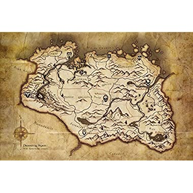 Tomorrow sunny G155 Drovince of Skyrim Game Map Poster Art Wall Pictures for Living Room in Canvas fabric cloth Print