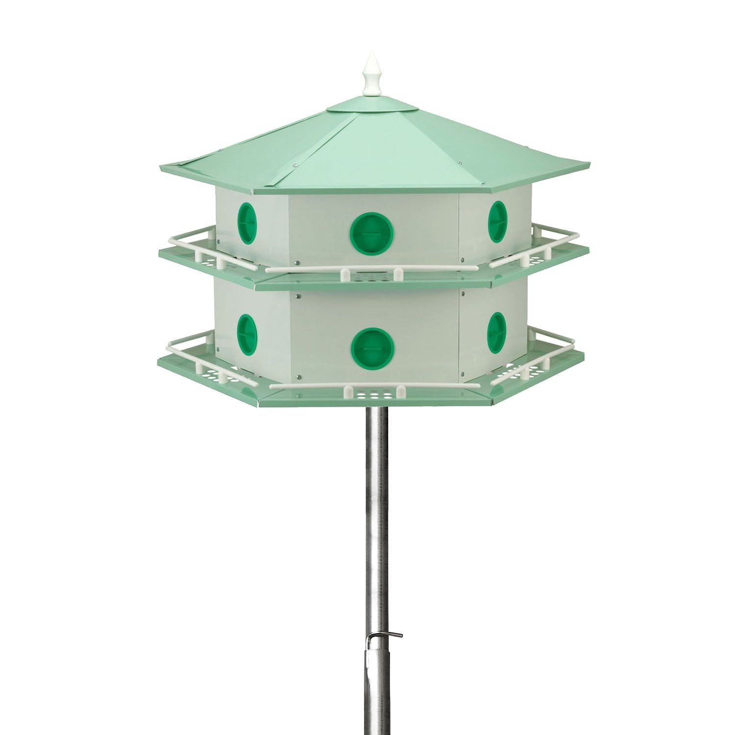 15' Telescoping Purple Martin House Pole Kit with 12-Room Aluminum House by Branco