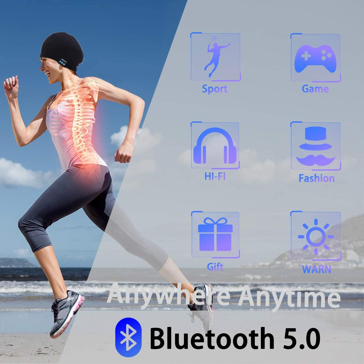 Electronic Gifts for Men NGC-C Bluetooth Beanie,Mens Gifts,Bluetooth Hat,Bluetooth Headphones,Running,Outdoor,Fashion Gifts for Women