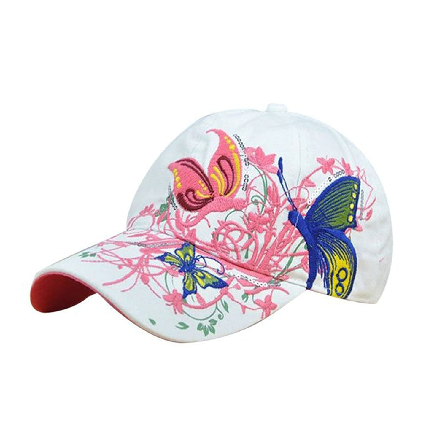 Funbase Women Adjustable Embroidered Butterfly Flower Outdoor Sports Ball Caps