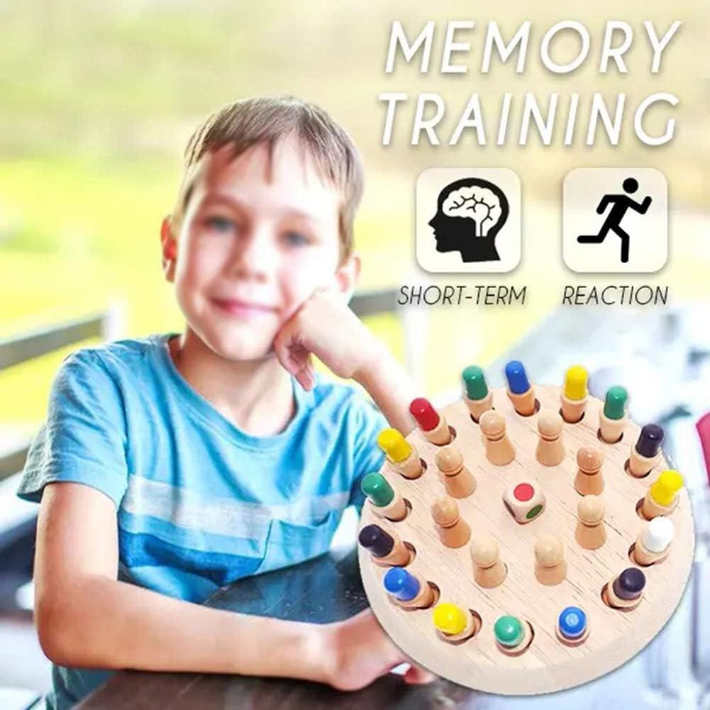 Wooden Memory Chess para ni/ños Diversi/ón Bloque Juego de mesa Color educativo Juguete de habilidad cognitiva Interacci/ón padre-hijo Matchstick Chess NFLOBD Ajedrez de Memoria