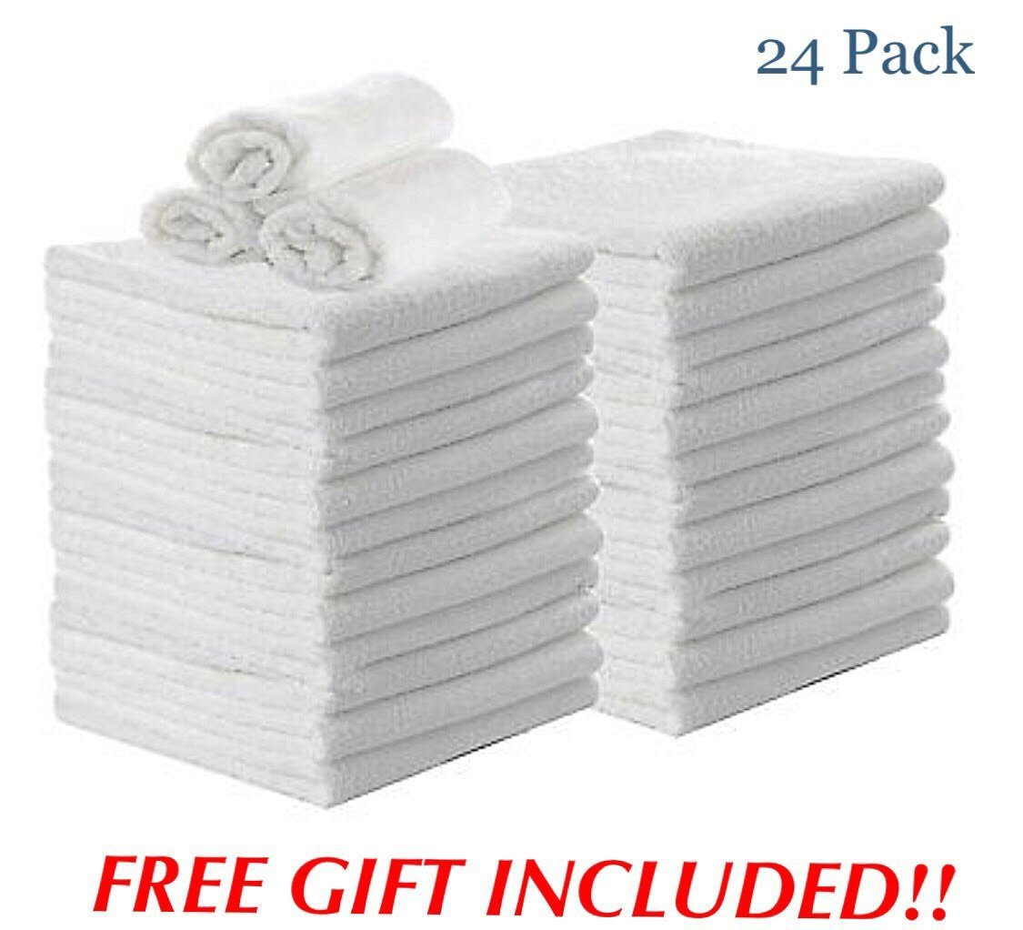 American Towels & Linens Premium Cotton Washcloths, 24 - Pack, 12 x 12 Inches (White)