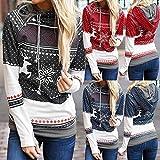 Ulanda Women's Christmas Pullover Sweatshirt Zipper Snowflake Dots Print Hoodies Tunic Tops for Xmas Holiday Party Red