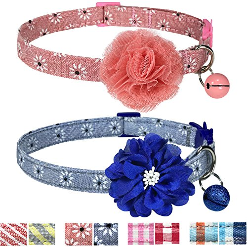 Designer Bell - Pet Rejoir Handmade Creative Breakaway Cat Collars Collection- 4 Designer Patterns with Bells and Flower Accessories- Charming Daisy Cat Collar Set- 2 Pack- Neck 9~13