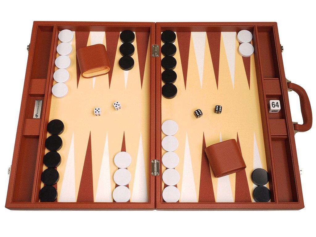 19-inch Premium Backgammon Set - Large Size - Desert Brown Board