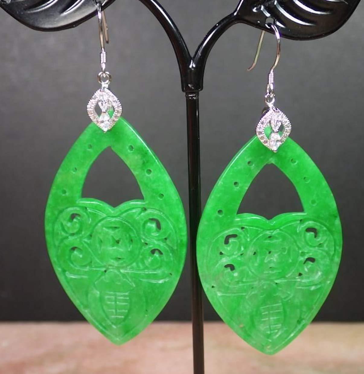 ajade088 Y 925 Sterling Silver Jade gem Earrings Bat Lotus Flower Wealth Coin EB282832