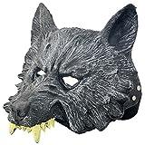 KM Halloween Masks Rubber Mask Masquerade Masks Scary Wolf Mask Silver