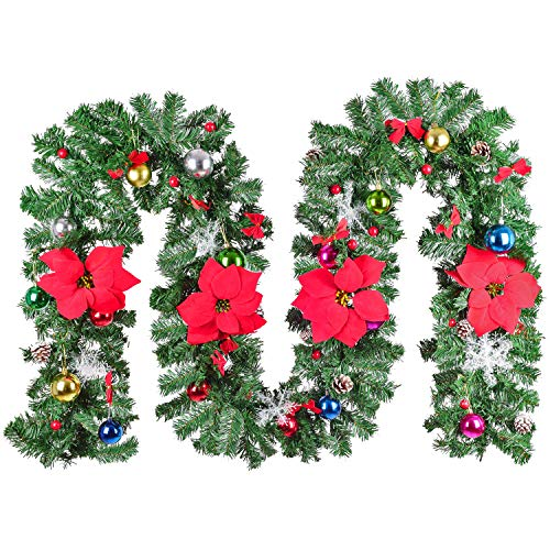 Lvydec 9ft Artificial Poinsettia Christmas Garland with Pine Cone Red Berry and Ball Ornaments, Christmas Decoration for Fireplace Front Door and Stairs