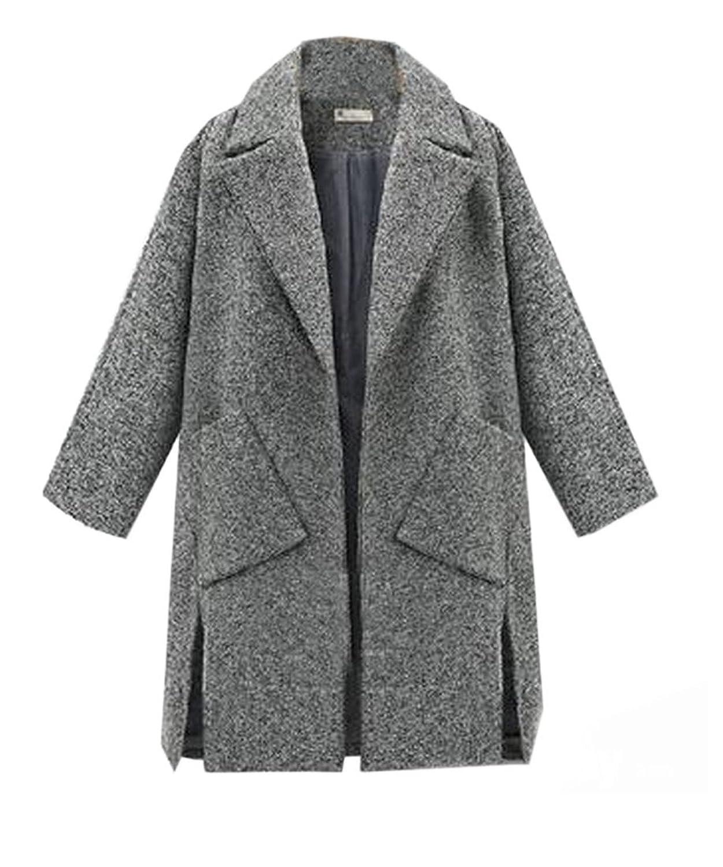 Yayu Women's Side Slit Lapel Simple Pockets Trench Coat Cardigan