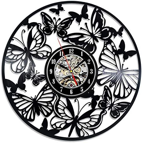 Butterfly Art Decor Vinyl Record Clock Wall Design Decoration