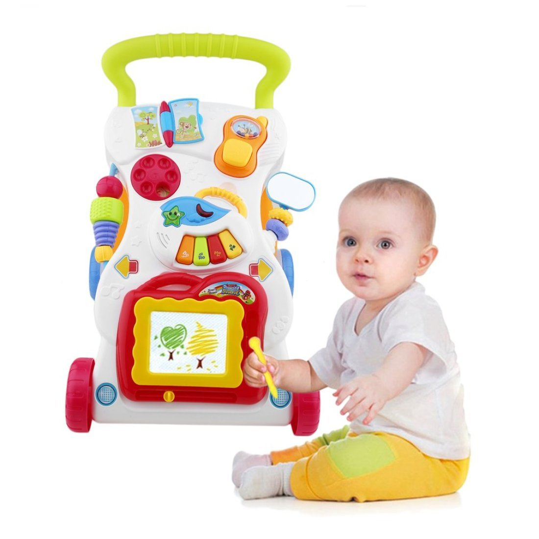 Baby Walker Multifunctional Toddler Sit-to-Stand Walker with Adjustable Screw Dailyinshop
