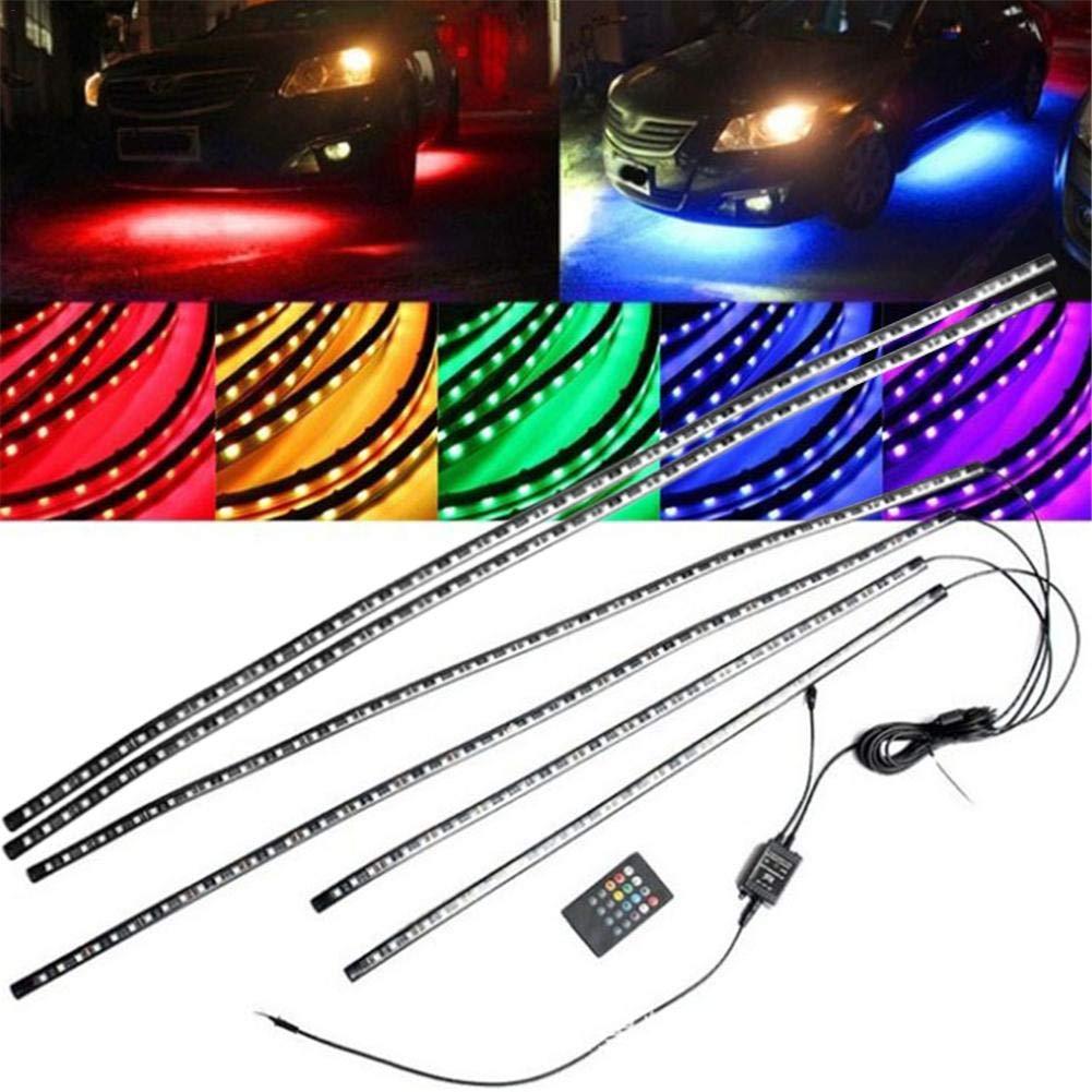 subsuelo iluminació n auto tira LED 12 V Multicolor 8 colores, iluminació n interior con sonido Active Funció n y mando a distancia, resistente al agua IP68 para Auto Interior y Exterior a 332PageAnn