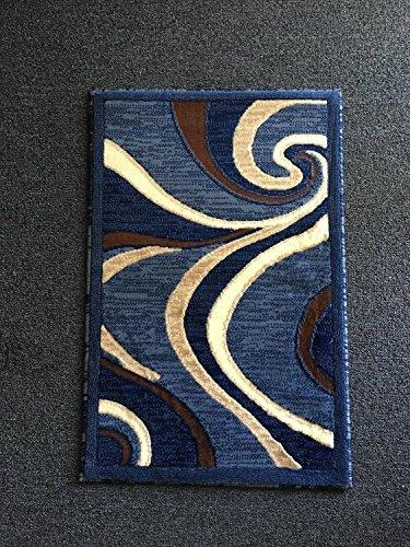 Modern Door Mat Area Rug Blue Swirl Americana Design #144 (2ftx3ft)