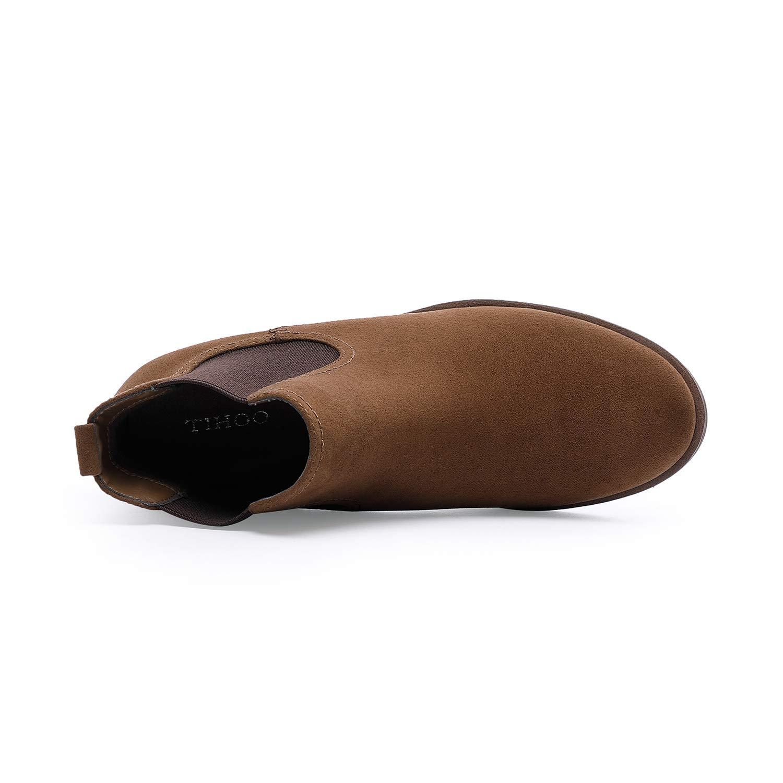 TIHOO Women\'s Low Heel Elastic Side Panel Round Toe Ankle Booties (10 M US, Brown)