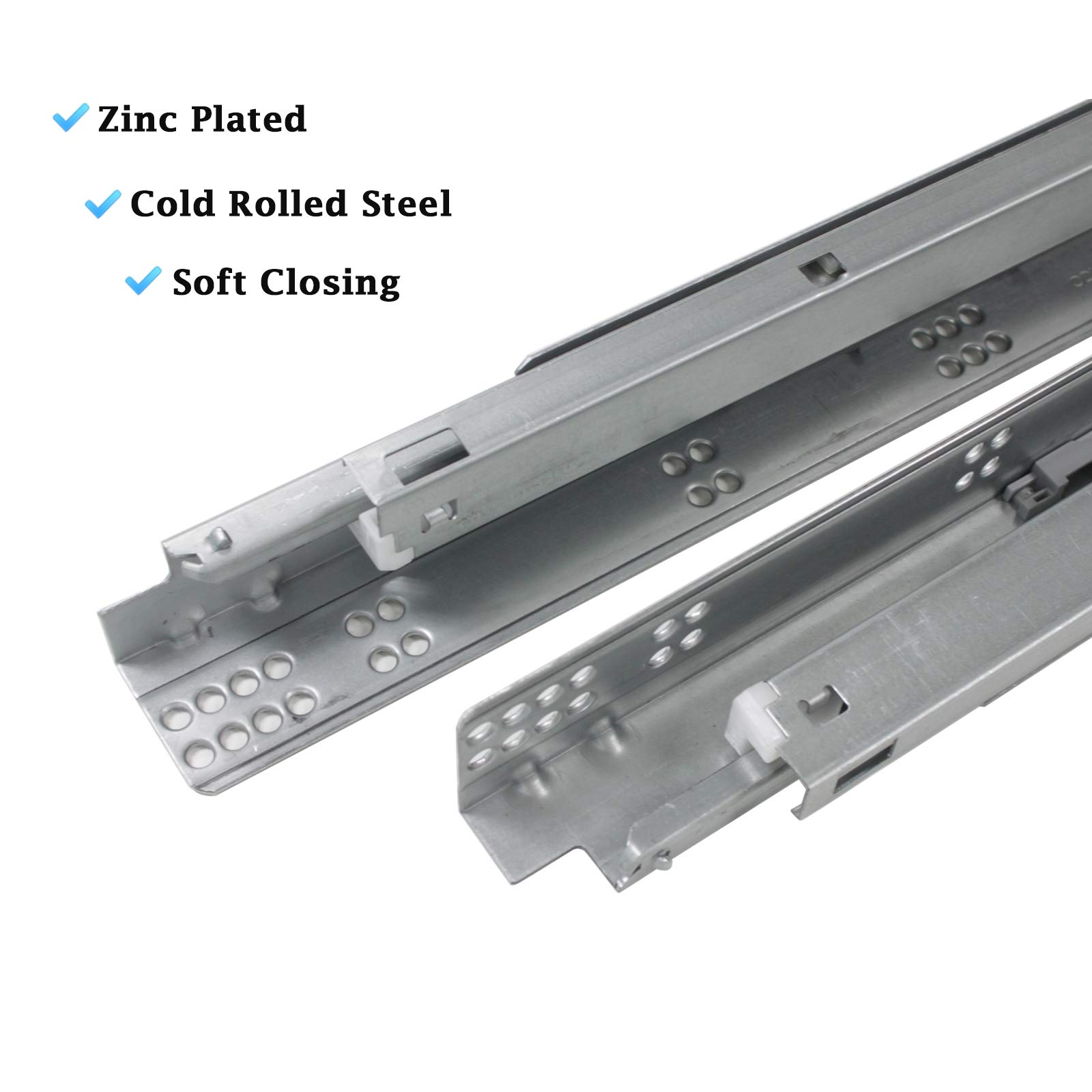 10 Pair 21'' Undermount Drawer Slides Soft Close Full Extension Drawer Rails, Mounting Screws and Adjustable Locking Device Included, 85 lb Load Capacity, Zinc Plated Cold Rolled Steel by Knobonly (Image #3)