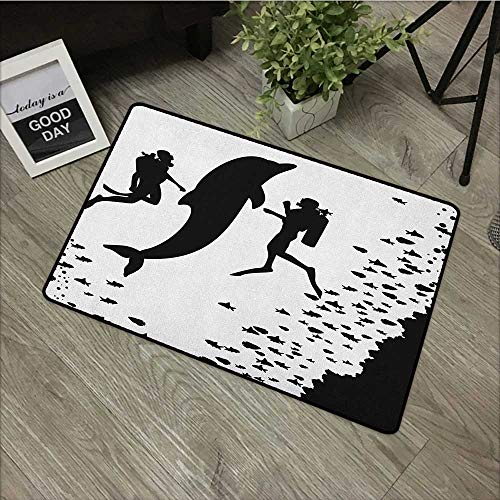- Bathroom Anti-Slip Door mat W24 x L35 INCH Dolphin,Two Scuba Divers and Giant Fish Silhouette Swimming Close to The Reef Monochrome, Black White with Non-Slip Backing Door Mat Carpet
