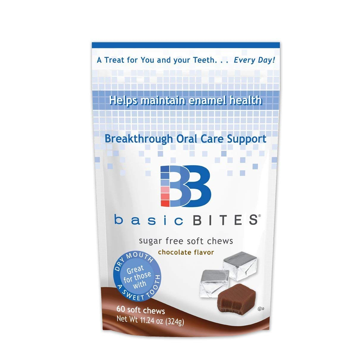 BasicBites Boost Enamel Health, For Dry Mouth, Extra Oral Care Support, Delicious Sugar Free Soft Chews, Developed at Leading U.S. Dental School (60 Count - One-Month Supply)