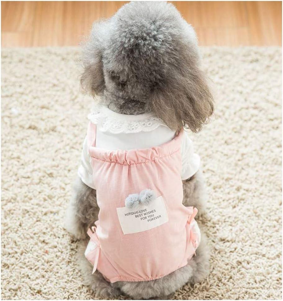 GDDYQ Ropa de Mascota, Primavera y Verano Delgada Perro Aire Acondicionado Ropa cómoda y Transpirable, Adecuado para Perros pequeños,Pink,XL