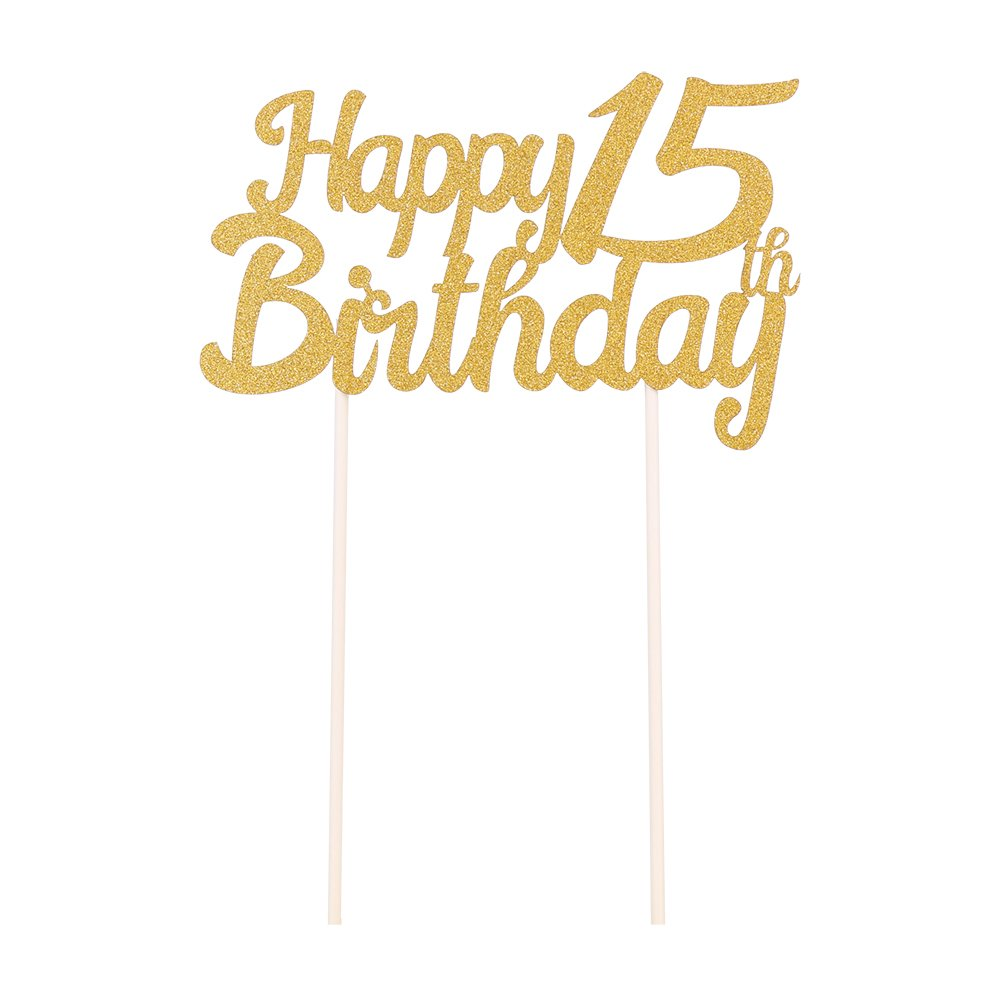 QIYNAO Gold Glittery Happy Birthday Cake Toppers and love star Cake Smash Birthday Party Decorations Candle Alternative Set Of 7 30th