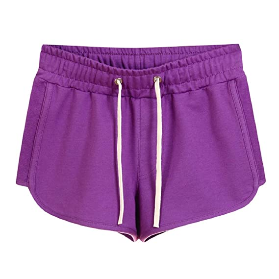 Aonember Womens Shorts Yoga Running Short Pants Beach Shorts Elastic Waist Workout Sport Athletic Shorts with Drawstring