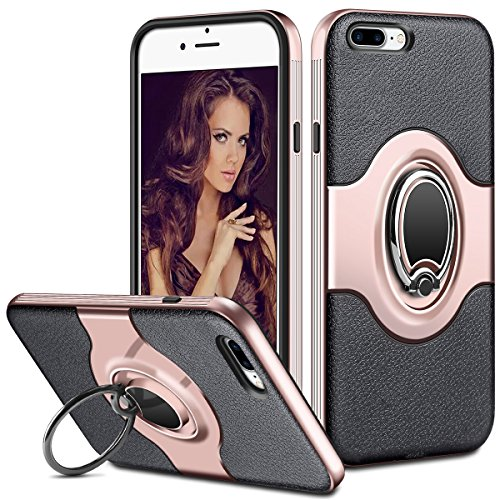 ELOVEN iPhone 7 Plus Case [Metal Ring Holder Kickstand] Dual Layer Bumper Case Shock-Absorption and Anti-Scratch Clear Back for Apple iPhone 7 Plus iPhone 8 Plus-Rose Gold