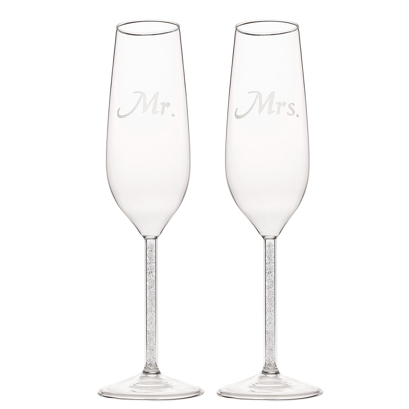 Set of 2 Wedding Champagne Flute Glasses - Mr and Mrs Toasting Engraved Flute, Pair Decorative Drinking Glass Set for Bride and Groom, Elegant Wedding Supplies, 1.7 x 2.7 x 9.5 Inches Juvale