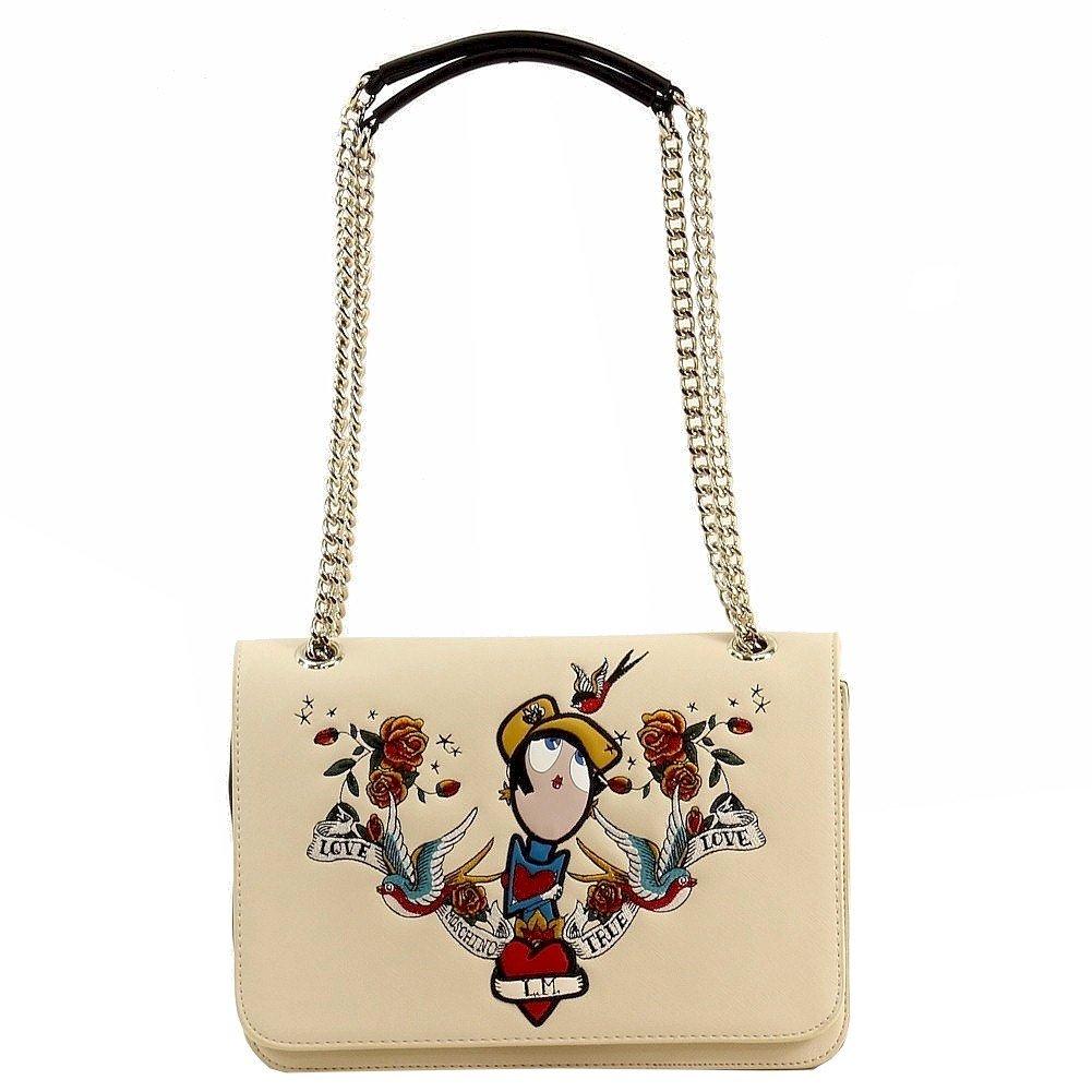 Love Moschino Women's Printed Milk Saffiano Flap-Over Satchel Handbag