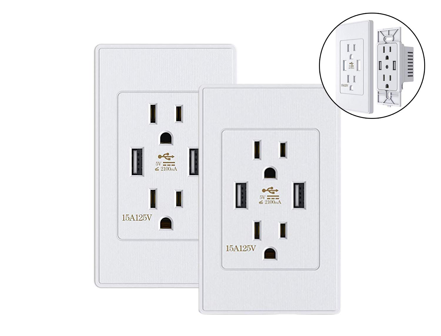 2 Power Outlet with Dual USB Ports Wall Mount Power Plate Matte Surface(2 Pack) by Kungfuking