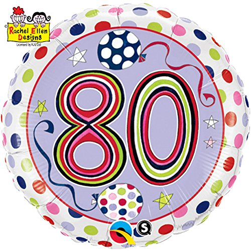 Qualatex 18 Inch Polka Dots & Stripes Age 80 Circular Foil Birthday Balloon (One Size) (80s Fancy Dress Characters)